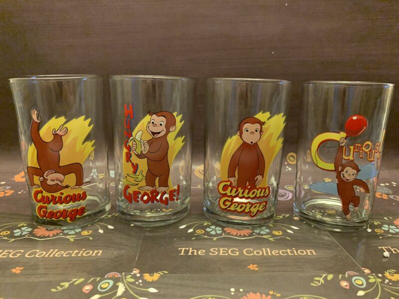 Curious George Set of 4 Drinking/Juice Glasses Curious Hungry Monkey EUC