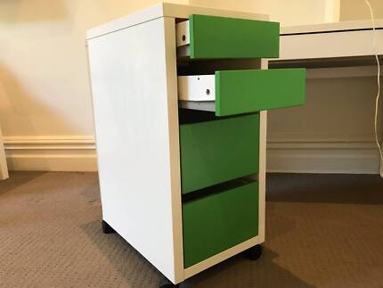 IKEA Micke Drawer Unit on Castors White-Green