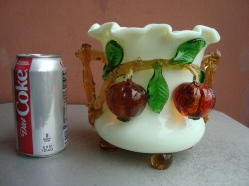 "Stevens & Williams (Attrib) Art Glass 6"" Custard Glass vase w/ Applied Fruit"