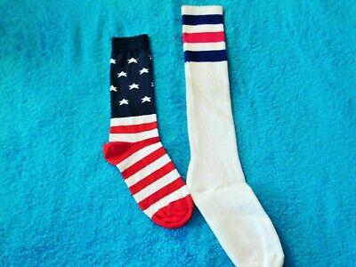 Patriotic Socks, Flag or Red White & Blue Stripe Socks Women Size Medium
