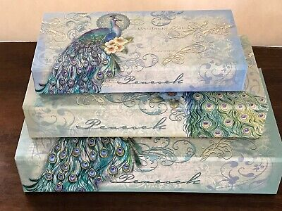 PUNCH STUDIO TEAL PEACOCK DECORATIVE NESTING BOXES SET OF 3 ()