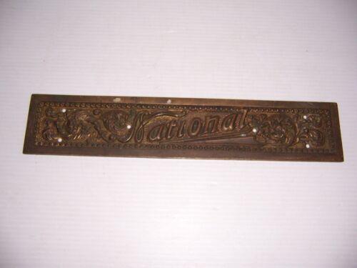 Antique Vintage National Cash Register Brass Name Plate #B32 Nameplate