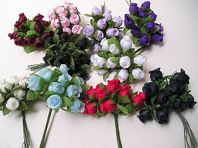WHOLESALE LOT 432 POLY ROSE BUDS 3 packs of 3 Different Colors Free US Shipping