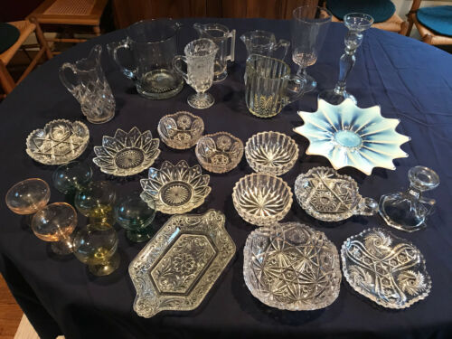 LOT OF 27 ASSORTED VINTAGE ANTIQUE GLASSWARE PITCHERS SMALL BOWLS CANDY DISHES