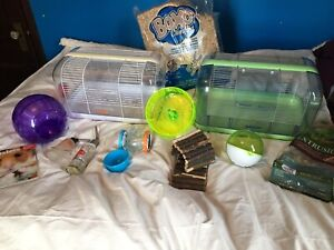 Hamster cage, accessories, food + bedding