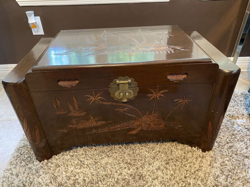 Beautiful Carved Asian Antique Trunk
