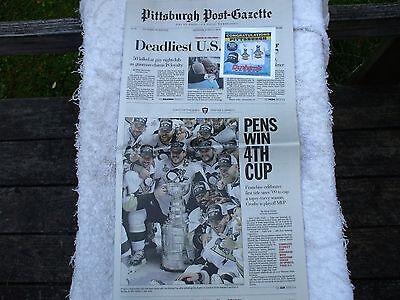 Stanley Cup Win Pittsburgh Post Gazette Newspaper June 13  2016