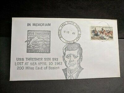 4cb850a01 Submarine USS THRESHER SSN-593 Naval Cover 1963 LOST 1964 Cachet