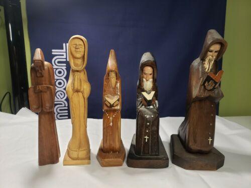 Wood Wooden Monk priest figures bookends vintage handcut set lot of 5