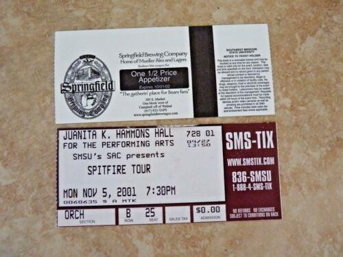 Spitfire Tour SMSU Juanita K Hammons 2001 Springfield MO Used Ticket Stub