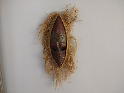 Vintage Hand Crafted African Wood Mask Wall Hanging Decoration
