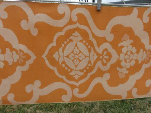 Semi-Antique Japanese Obi Kimono Sash Saffron Orange Double Sided Textile Japan