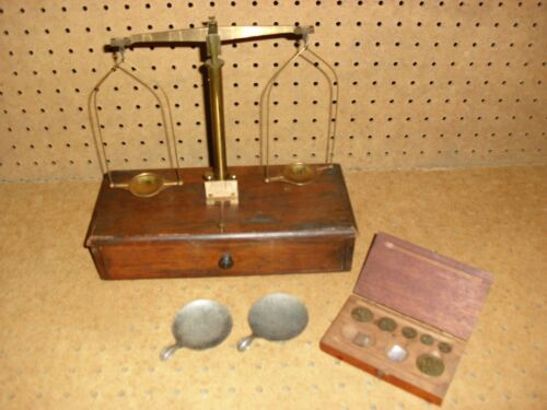 Antique brass Henry Troemner Scale Philadelphia Apothecary  Weights set Drawer