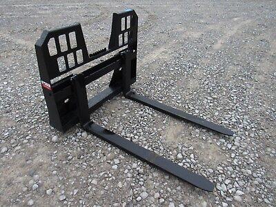48 4400 Pound Walk Through Pallet Forks Set Attachment Fits Skid Steer Loader