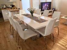 Modern styling White Gloss extending Dining Table and 8 Chairs Glenelg Holdfast Bay Preview