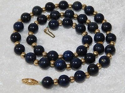 "Vtg Chinese BLUE LAPIS 14k Gold Bead Necklace 17"""