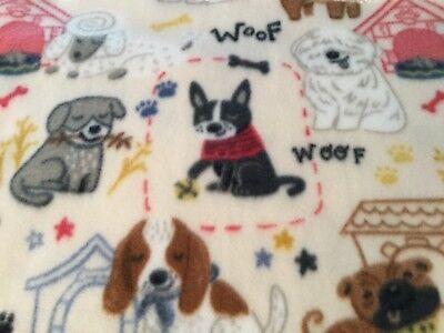 Handmade fleece pet blanket/throw, cute puppies!