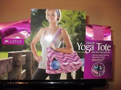 "Lotus PURPLE & PINK CHEVRON SATIN Yoga Mat Tote Bag 24"" w zipper pocket NEW"
