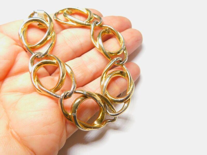 Gold Tone Interlinked Metal Bracelet Vintage