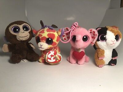TY BEANIE BOOS  Keychain Lot Of 4 Coconut, Darci, Tender, Nibbles - Ty Keychains