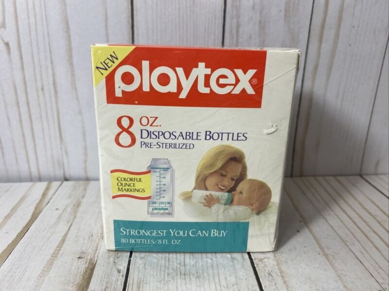 1991Vintage Playtex 8oz Disposable Baby Bottle Liners Pre-Sterilized 80ct SEALED