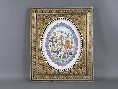 Vintage Painting Mediorientale with Painting Oval Battle Period Xx Century