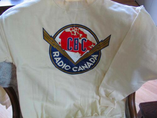 Canadian Broadcasting Corporation CBC Old Logo Cream Sweat Shirt Size M, NEW