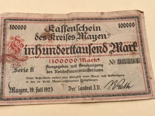 GERMANY 100000 MARK GUNZENLLANSEN BANKNOTE NOT GELD 1923