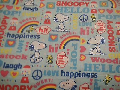 Snoopy Dancing - PEANUTS Snoopy Dancing Woodstock Bright Rainbow Kawaii FQ Fat Quarter Fabric