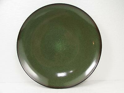 Fusion Wasabi by Gabbay Dinner Plate Green Speckled Center Brown Trim L202
