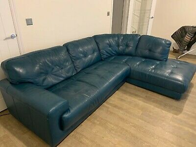 TEAL LEATHER CORNER SOFA