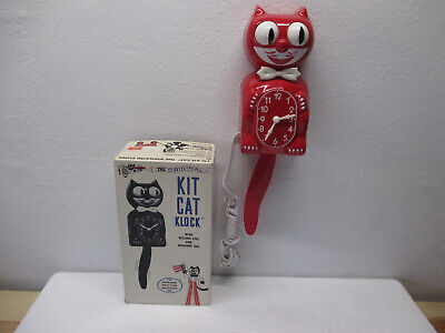 Vtg NOS Kit Cat Klock Red Electric Wall Clock NEVER USED Mint Condition WORKS!