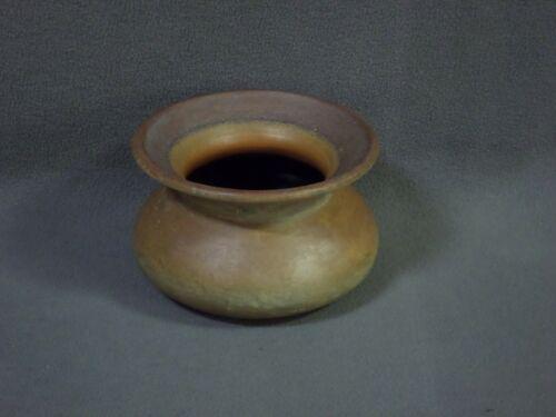 """Vintage STONEWARE SPITTOON 4.5"""" tall 7"""" dia vase planter bowl"""