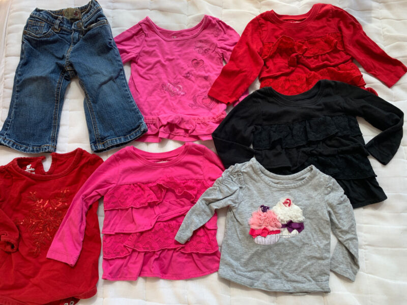 Infant baby girl clothes 12 Month lot Of 7 Items. NAME BRAND 6 Tops 1 Jeans Cute