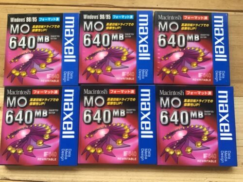 6×Maxell 640MB 3.5 inch Rewritable MO DISCS  **Individual SEALED**