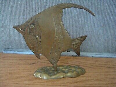 Vintage MCM Brass Tropical Angel Fish Sculpture Decor Pebbled Base 6 1/2