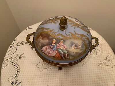 Antique French Sevres Porcelain Potpourri Hand Painted signed E.Froger