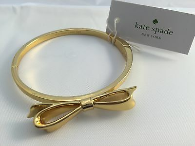 New Kate Spade Gold Large Bow Hinge Bangle Love Notes (Retail $48.00)