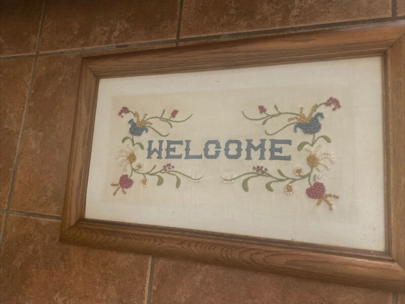 Vintage Welcome Sign Cross Stitch FARMHOUSE RUSTIC Picture Framed