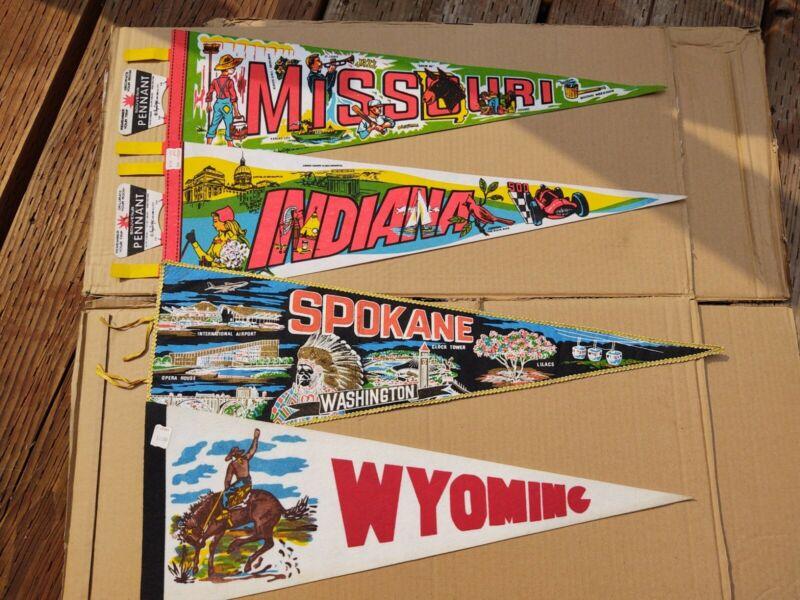 Vintage Lot Of 4 Pennants. Indiana Missouri Wyoming Spokane.  Will ship flat.