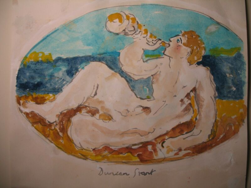2x BLOOMSBURY DUNCAN GRANT   WATERCOLORS  YOUTH WITH HORN/ANGEL