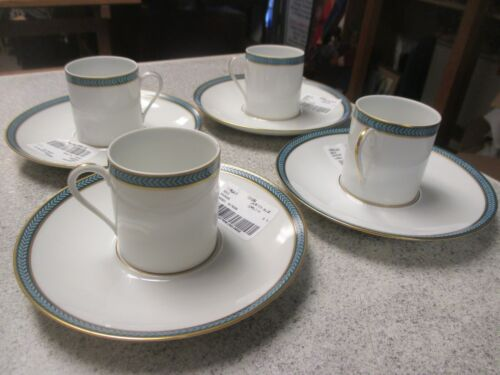Lot 4 Set Ceralene Limoges A Raynaud Laurier Blue Cup Saucer espresso tea coffee