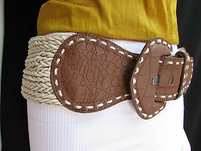 New Women Hip Waist Off White Braided Brown Fashion Wide Belt Big Buckle M / L
