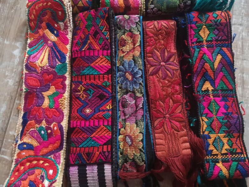 9 Guatemalan Vintage Sashes Huipil Handmade hand embroidery belt Camera Straps