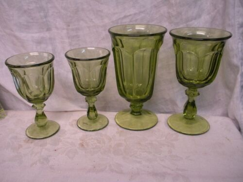 4 pc OLD WILLIAMSBURG VERDE GREEN IMPERIAL GLASS OHIO 1 ice tea, 1 water 2 wine