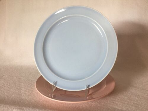 "2 TST Lu-Ray Pastels 8 1/2"" Muffin Cover Plates Taylor Smith Taylor Pink & Blue"