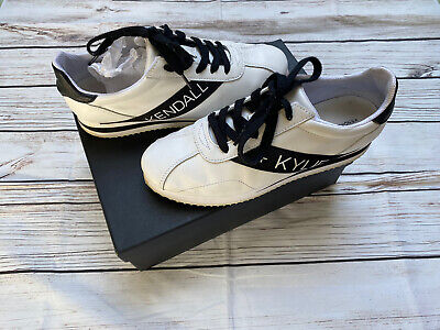 Kendall + Kylie Kamryn White Black Leather Trainers US 9 UK 8.5 8