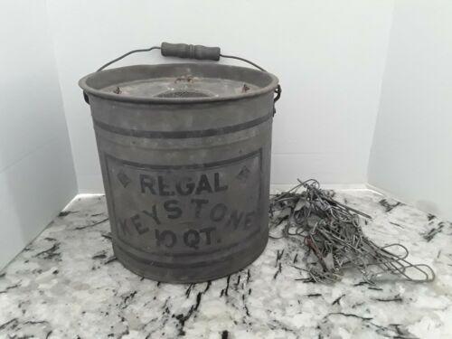 Vintage Regal Keystone 10 Quart Minnow Bucket w/Millsite Fish Stringer