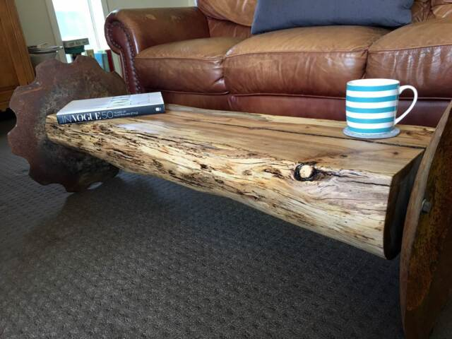 Bespoke tree trunk coffee table industrial vintage honey for Coffee tables gumtree