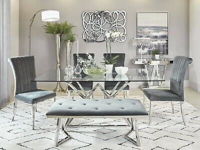 Modern 6-Piece Dining Set Tempered Glass Polished Stainless Steel Gray Velvet